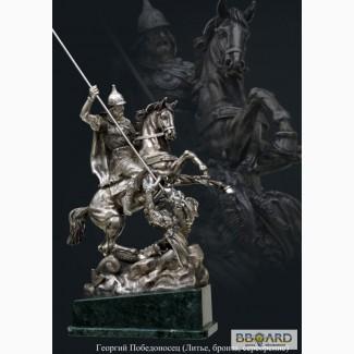 Vip статуэтка сувенир - Георгий Победоносец, (Литье, бронза, серебрение, африканский мрам