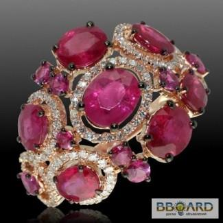 Золотое кольцо с цирконами «Emerald hue».