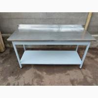 Стол из нержавеющей стали разделочный б/у 1, 6 м, кухонные производственные столы б/у
