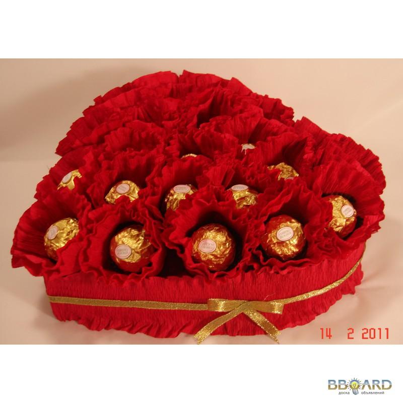Букеты на 14 февраля из конфет своими руками фото