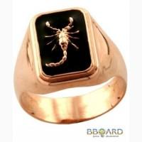 Золотая печатка «Scorpion symbol».