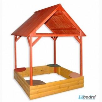 Детская песочница беседка, детский деревянный домик. Песочница с крышей
