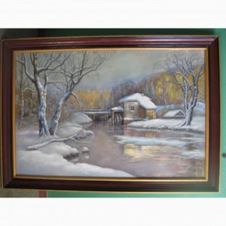 Картина зимняя мельница