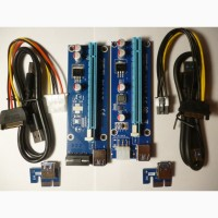 Новые Riser Райзер 006 6pin 4pin PCI-E 1X to 16X molex USB 3.0 60см