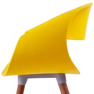 Стул пластиковый с подлокотниками Берта, жёлтый