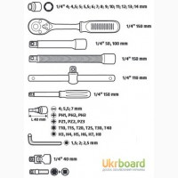 Набор торцевых ключей со сменными головками Topex 46 шт. 38D640