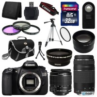 Canon EOS 60D SLR camera + 4 Lens Kit 18-55 IS + 75-300 mm + 32GB full cost of a set of