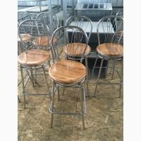 Стул барный б/у сидения из верзалита коричневого цвета каркас металлический для ресторана