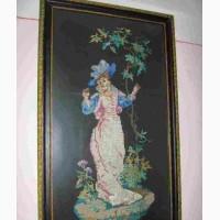 Картина Девушка с деревом (ручная вышивка). 1957-й год