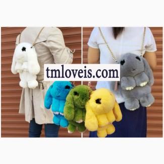 Меховая сумка-рюкзак кролик меховой зайчик лучшее качество на рынке