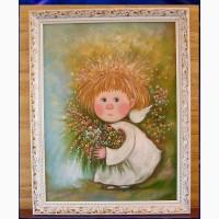 Что подарить на День рождения -картину маслом Мой ангел с сумочкой