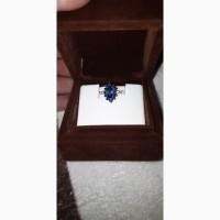 Продам кольцо с диамантами и сапфирами