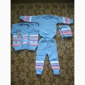 Костюм-четверка новый детский унисекс штаны, свитер, жилет, шапка
