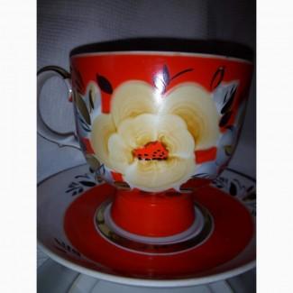 Чайная пара мальва фарфор ссср 70-80 г.г