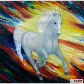 Продам картину Бегущая белая лошадь