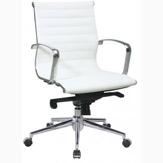Кресло дизайнерское Алабама М, средняя высота спинки, белое, серое