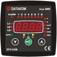 DATAKOM DFC-0108 Контроллер компенсации реактивной мощности (8 шагов) 96x96mm