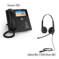 Snom D785 + Jabra Biz 1500 Duo QD, комплект: sip телефон + гарнитура