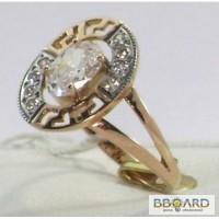 Золотое кольцо с кубическими цирконами «Musical sea».