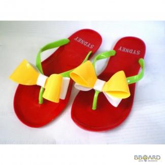 Красные с бело-желтым бантом Силиконовые женские шлепанцы, вьетнамки. Цвета. Недорого