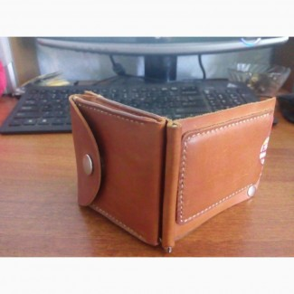 Портмоне кошелек бумажник из натуральной кожи Рыжий Енот