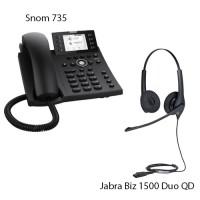 Snom D735 + Jabra Biz 1500 Duo QD, комплект: sip телефон + гарнитура