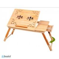 Подставка бамбуковая для ноутбука c вентиляторами деревяный стол