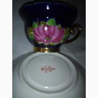 Чайная пара кобальт с позолотой и ручной росписью, фарфор ссср 70 г