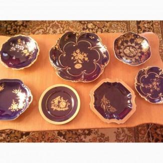 Тарелки коллекционные. Синий кобальт. Золото 24к