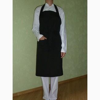 Фартук с нагрудником для поваров, черный, форма повара в наличии