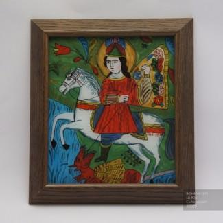 Св. Юр, Икона на стекле нарисована в народном стиле, 23x26см