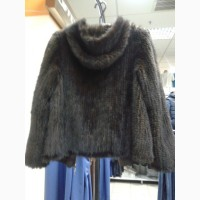 Куртка с капюшоном из вязаной натуральной норки