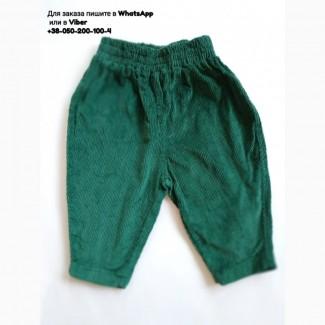 Вельветовые штаны изумрудные зеленые штанишки для малыша велюр