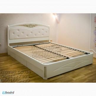 Кровать двуспальная из массива ясеня с ящиками Анастасия от производителя