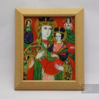 Богородица, Икона на стекле нарисована в народном стиле, 21x25см