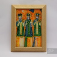 Три Святителя, Икона на стекле нарисована в народном стиле, 20x27 см