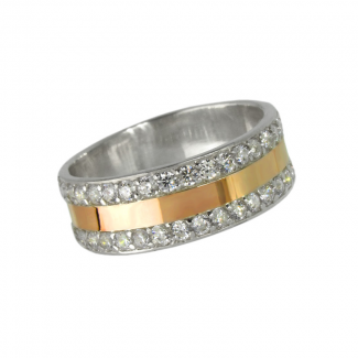 Женское серебряное кольцо с золотой накладкой