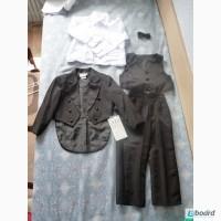 Строгий нарядный 4 в 1 костюм 4т жилетка пиджак рубашка штаны бабочка