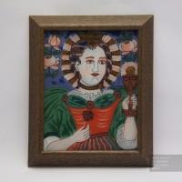 Св. Варвара, Икона на стекле нарисована в народном стиле, 22x27см