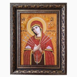 Продам икону из янтаря Семистрельная Богородица