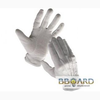 Перчатки официанта белые с вкраплением с манжетом и без