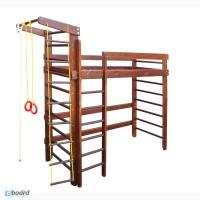 Кровать спортивная, чердак, 190 на 80 см, шведская стенка. В тонировке