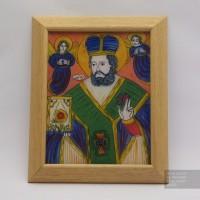 Святой Николай, Икона на стекле нарисована в народном стиле, 22x27 см