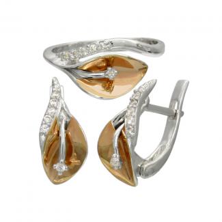 Женский серебряный набор с золотыми накладками