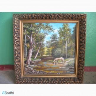 Картина конь на опушке леса