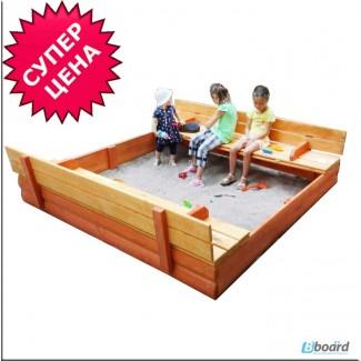 Песочницы детские деревянные 200см с крышкой Kindergray