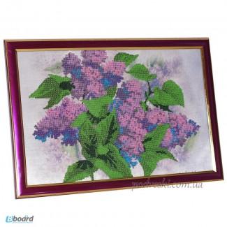 Картина в рамке вышита бисером Сирень