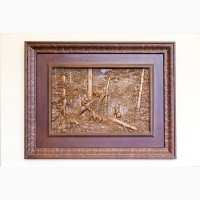 Эксклюзивная картина «Утро в сосновом лесу» из ценных пород древесины