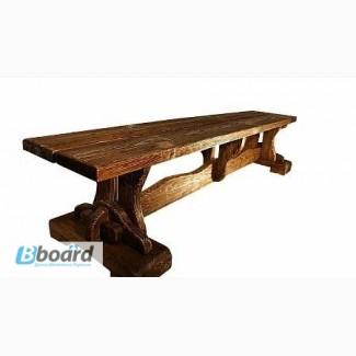 Садовые скамейки из дерева, Деревянная лавка Изба