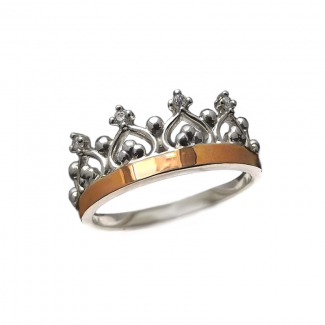 Женское серебряное кольцо с золотыми накладками - Корона